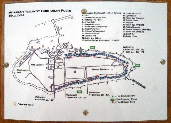 Adaaran Select Hudhuranfushi: Схема острова