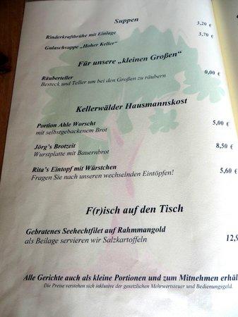 Gasthof Zum Hohen Lohr: Speisekarte