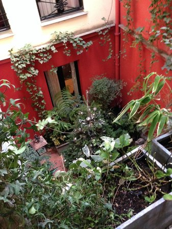 Hotel Bourg Tibourg: The Courtyard (and Christmas tree!) - from the terrace