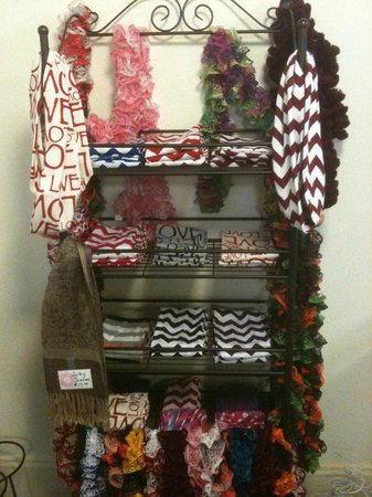 Sugar Momma's: Locally made frilly scarves and infinity scarves.