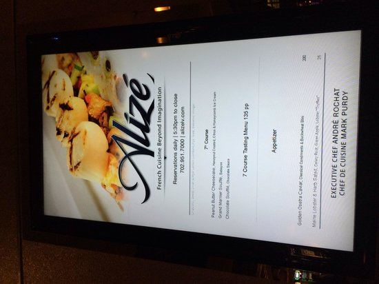 Alize at the Palms: Menu