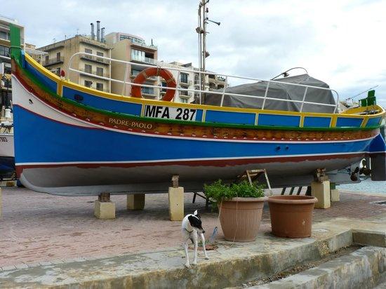 Spinola Bay: A colourful fishing boat.