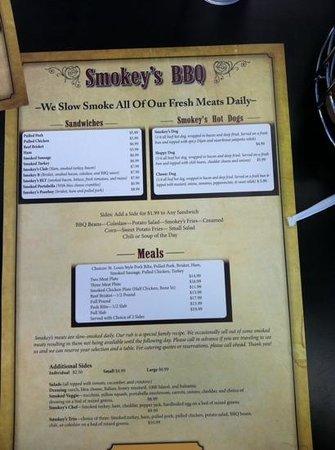 Smokey's Bbq: The Menu