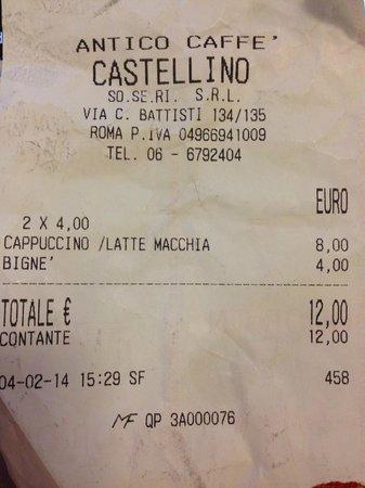 Antico caffe castellino: Scontrino