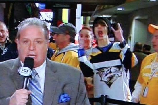 Bridgestone Arena: There's my son on national TV by gate 105.