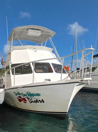 Sail Caribbean Divers : Our 36ft dive boat Discovery