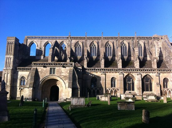 Malmesbury Abbey: The South front showing the porch