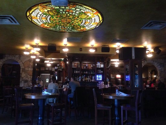 Dan McGuinness: Beautiful stained glass ceiling light & amazing woodwork on the bar
