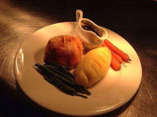 Anglers Arms: Individual beef Wellington, creamed mash, Madeira sauce and baby veg