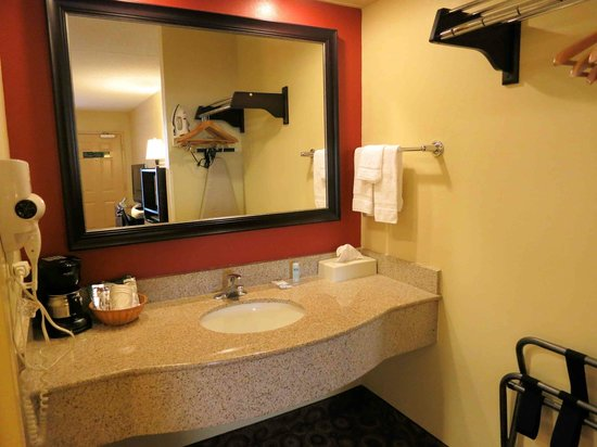 Rodeway Inn & Suites North: Room 221 - Large Counter, lighting a little dim