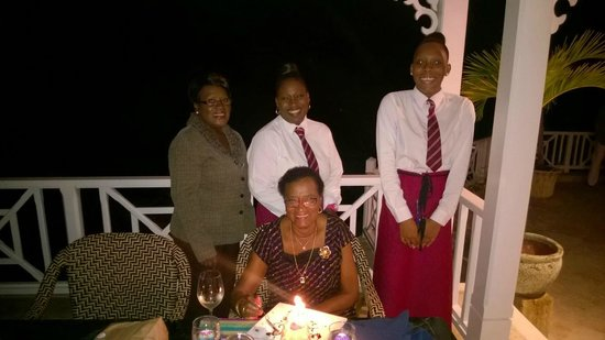 Spago Restaurant and Bar: Mum and a few  staff members - after the singing :-)