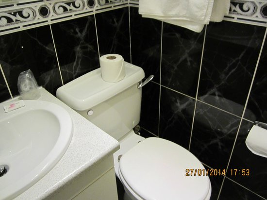 Chequers Plaza Hotel Blackpool : Gleaming black tiles round the loo.