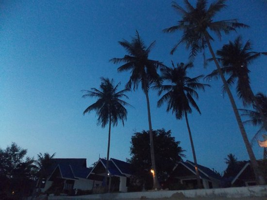 Coco Garden Resort: view from beach at sunset over bungalows