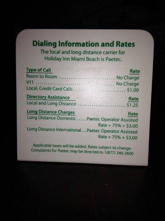 Holiday Inn Miami Beach : Cómo llamar desde la habitación