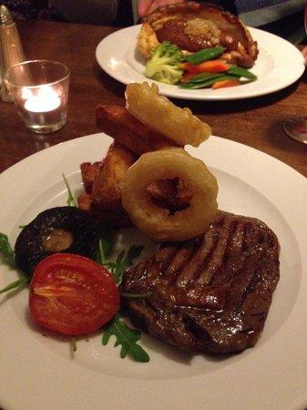 Ribeye steak at Anglers Arms