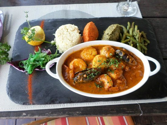 Ma Ti Beach Bar & Restaurant: Seafood with a suffron mussel sauce