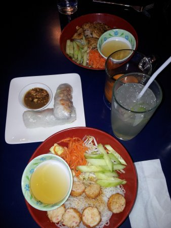 Lan's Asian Grill: medium vermicelli bowls salad rolls and drinks...beautiful and delicious!