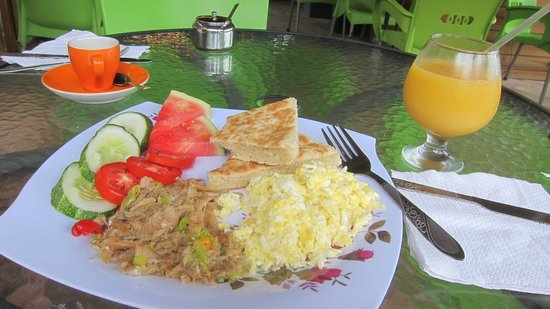 The Coffee Shop: Coconut Bake, salt fish, scrambled eggs, juice