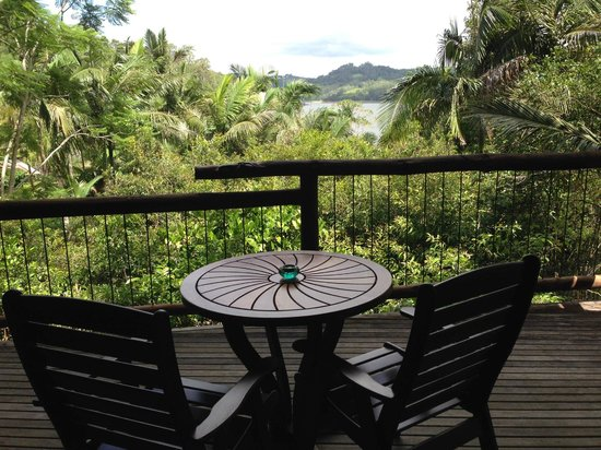 Secrets on the Lake: The view of the grounds to Lake Barron from the deck of the Bower