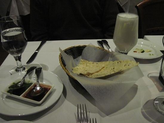 Darbar Fine Indian Cuisine: Papadams, chutneys, and sweet lassi
