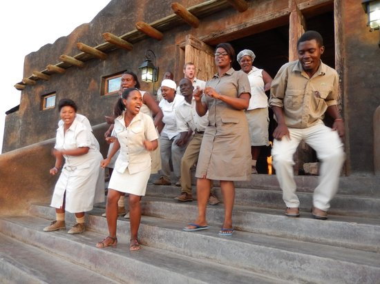 Wilderness Safaris Doro Nawas Camp: Staff Welcoming Guests After a Tough Day Site Seeing