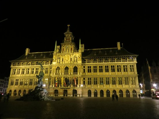 Hilton Antwerp Old Town: View from the hotel restaurant at night.