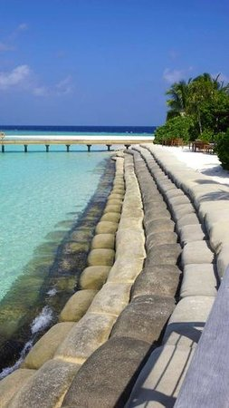 """Robinson Club Maldives: Another view of the bar and restaurant """"beach"""""""