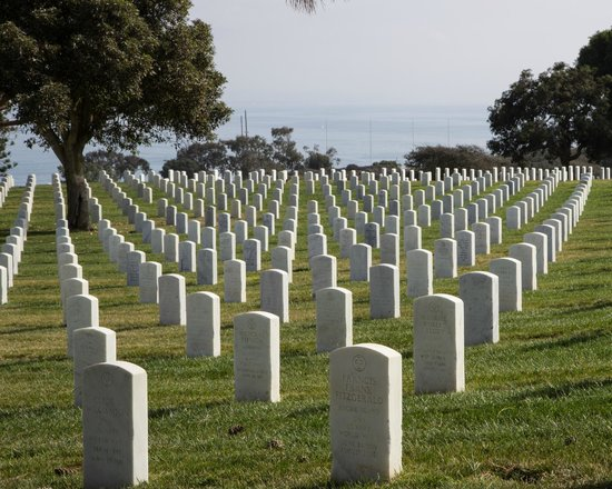 Fort Rosecrans Cemetery : A view of the cemetery with the sea beyond.