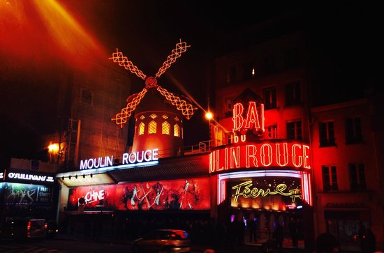 Outside the Moulin Rouge Theater.