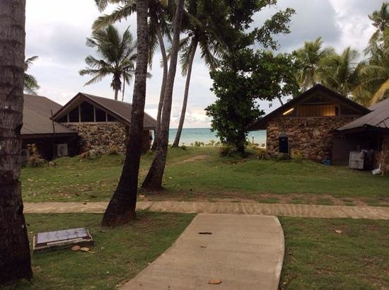 Plantation Island Resort: view from 2 bedroom unit. Beachfront bure in front.