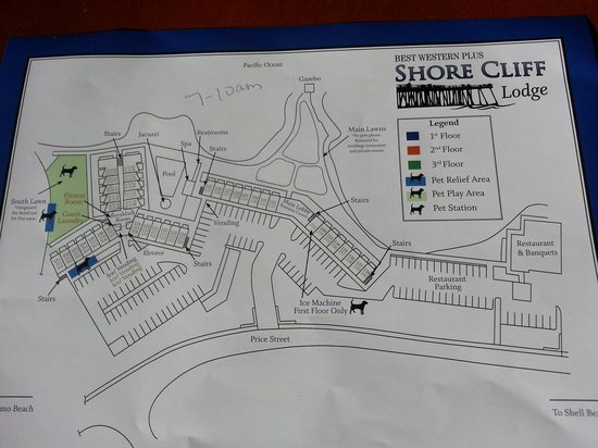 Shore Cliff Hotel: MAP OF SHORE CLIFF LODGE