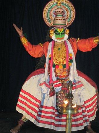 Kathakali dance of Kerala, a land of coconut trees
