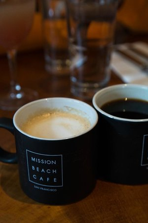 Mission Beach Cafe: Cappuccino and regular coffee at the back.