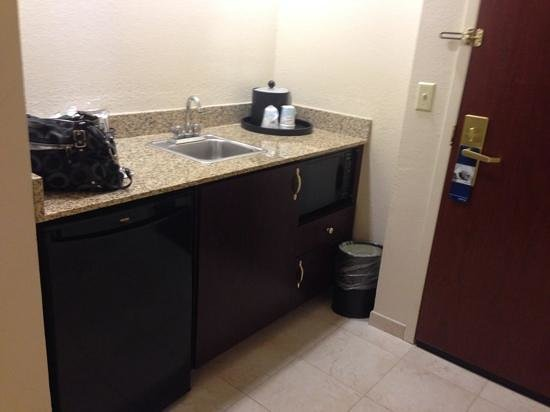 Hampton Inn & Suites Boynton Beach: Sink with cabinets, refrigerator and microwave