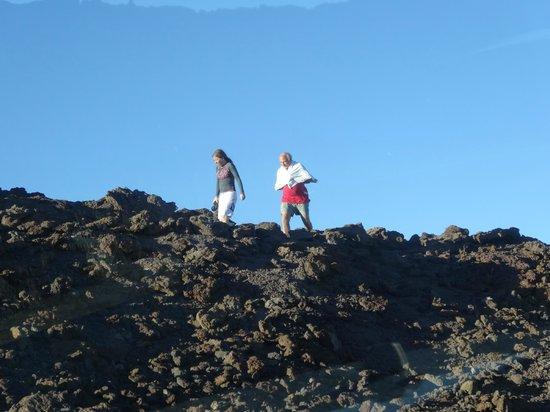 Haleakala Crater: My husband keeping warm in a towel!