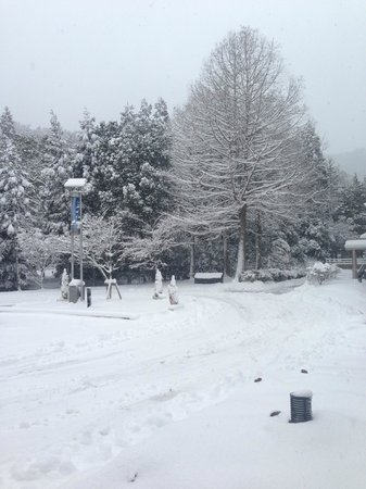Unitopia Sasayama: 大雪のレイクプラザ前ロータリー