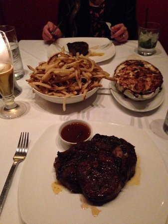 Red, the Steakhouse - South Beach : 22oz Ribeye, Garlic Fries, Potatoes au gratin, 8oz filet.