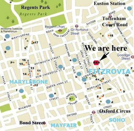 122 Great Titchfield Street B&B: Location Map