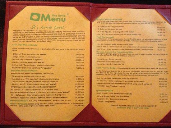 The Little Menu Restaurant: Today's menu