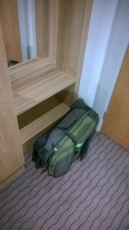 Clayton Hotel Burlington Road: My suitcase fell off this narrow shelf the entire visit...lol