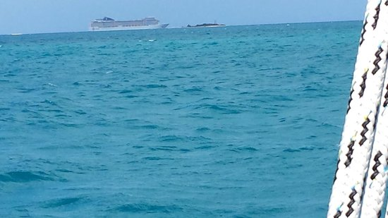 Cruise and Chill Sailing,Antigua W.I. : Cruise Ship in the distance