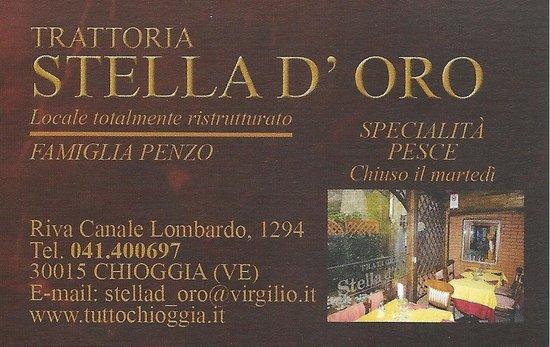 Trattoria Stella d'Oro: Trattoria Stella d'Oro, Chioggia, Italie.