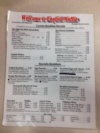 The English Muffin : Breakfast menu