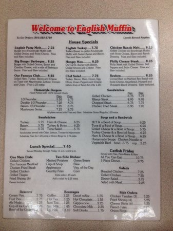 The English Muffin : Lunch & Dinner menu