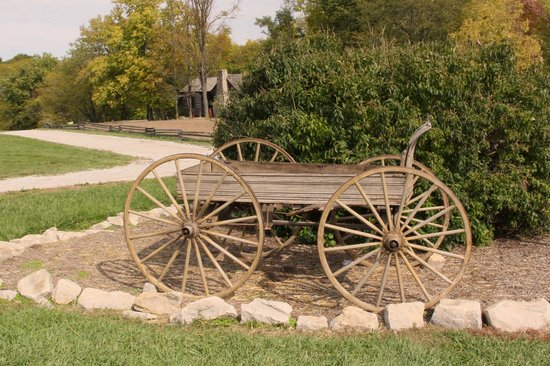 Shoal Creek Living History Museum: Wagon at the entry of the village