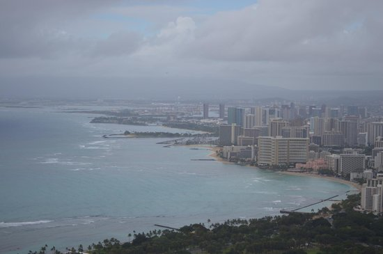 View of Waikiki Beach from the top of Diamond Head on an overcast day in Febuary.