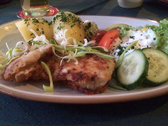 Zur Rippe: Seelachs Filet an Salzkartoffeln mit Salat
