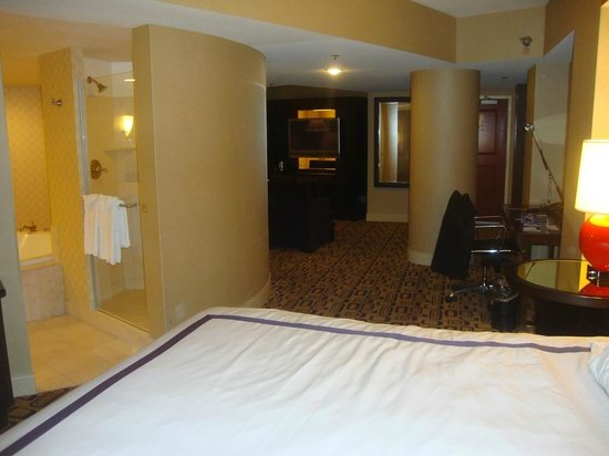 Planet Hollywood Resort & Casino: looking from the bed to the door, note the giant post in the room.