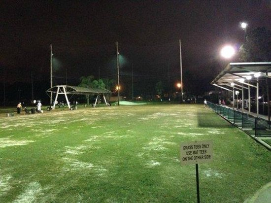 Ace Golf Ranges: Upper tee line at night