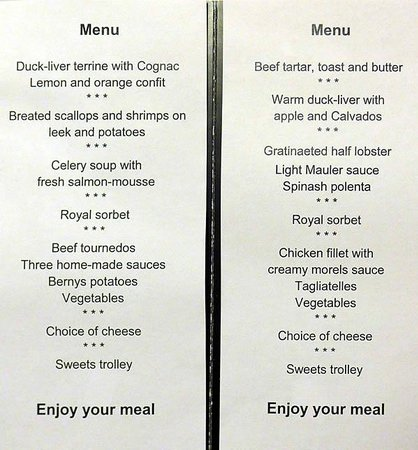 """Grand Hotel Les Endroits : Menu of """"Gourmet Package"""""""